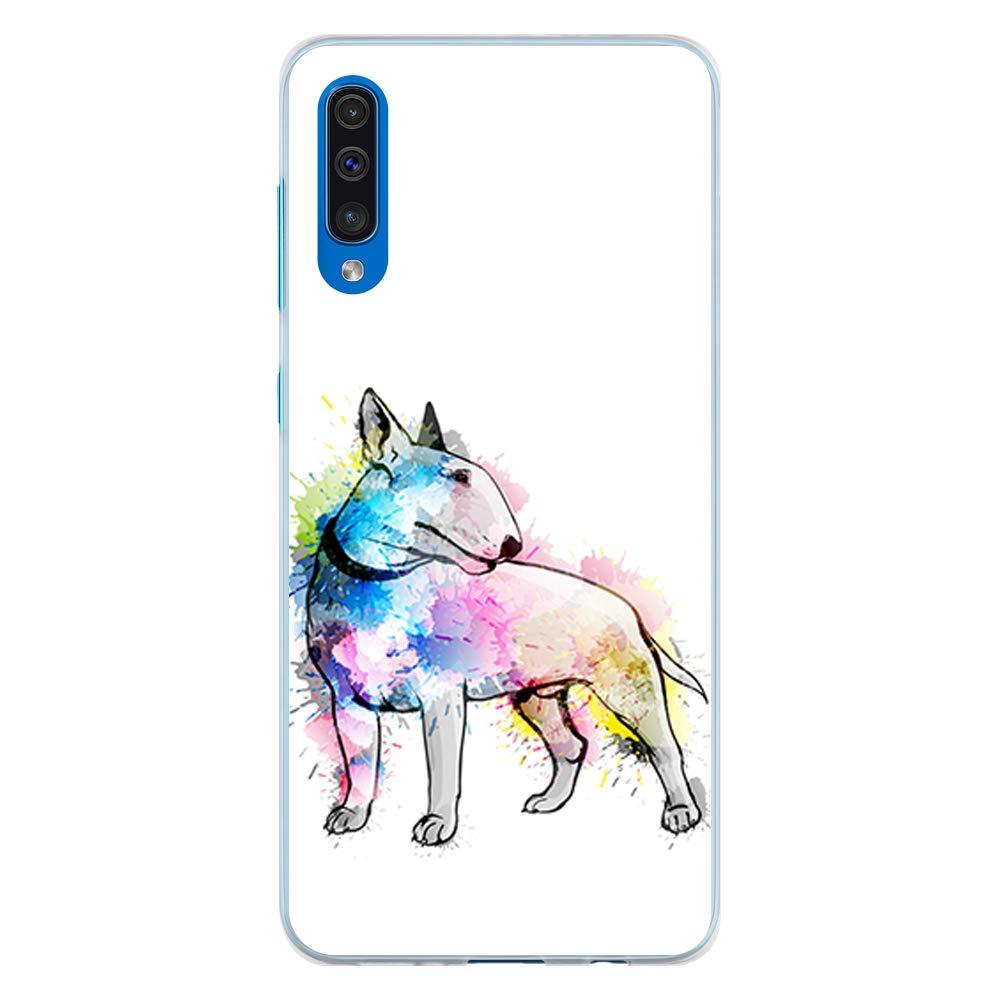 BJJ SHOP Étui Transparent pour [ Samsung Galaxy A50 ], Coque en Silicone Souple TPU, Design: Papillon Multicolore Abstrait