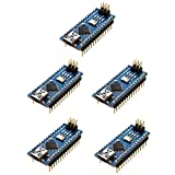 Optimus Electric 5pcs Nano V3.0 Development Board Module with ATMEGA328P Microcontroller and CH340 Chip, Arduino Compatible 16MHz, 5V from