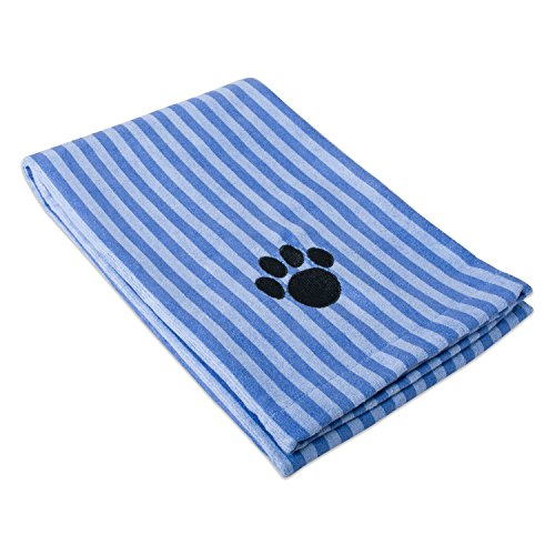DII Bone Dry Microfiber Pet Bath Towel with Embroidered Paw Print, 44x27.5, Ultra-Absorbent & Machine Washable for Small, Medium, Large Dogs and Cats-Blue Stripe