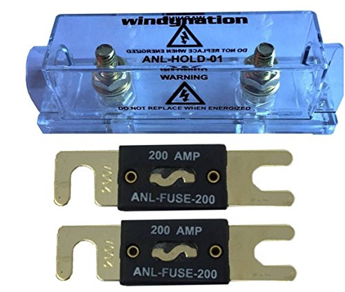 WindyNation ANL Fuse Holder + ANL Fuse (2pcs 200A - Bolt 200a
