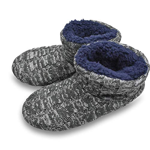 GPOS Mens Cable Knit Woolen Slipper Boot Memory Foam Fluffy Cotton Quilted Ankle Booties Indoor House Shoes