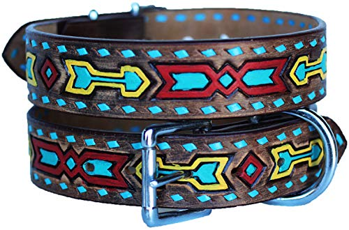 PRORIDER Large 21''- 25'' Rhinestone Dog Puppy Collar Crystal Cow Leather 6027
