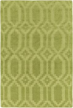 Area Rug, Green Transitional Handmade Wool 3-D Diamonds Carpet, 5' x 7'6""