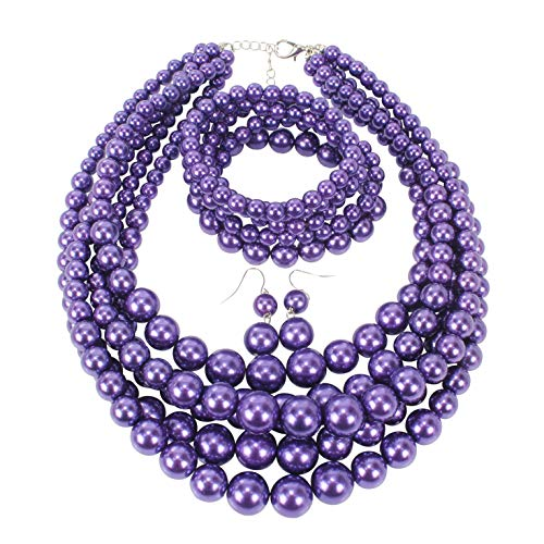 HaHaGirl Purple Faux Pearl Jewelry Sets for Women Include Necklace Bracelet and Earrings Set