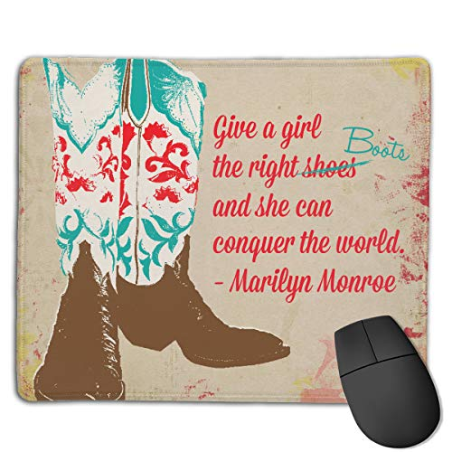 Teesofun Unique Mouse Pad Western Cowgirl Shoes Art Rectangle Rubber Mousepad 8.66 X 7.09 Inch Non-Slip Gaming Mouse Pad