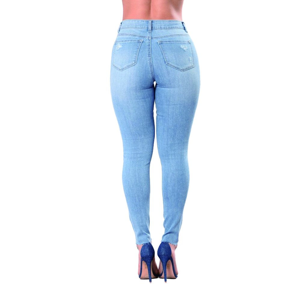 VICVIK Skinny Denim Sexy Hole Jeans for Women Flare Tron Stylish Rock Roll Elastic Jean Pants (L, Light Blue) by VICVIK (Image #2)