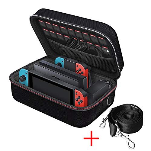 Nintendo Switch 케이스 iVoler 닌텐도 스위치 대용량 수납 백 전면 보호 편리 통째로 백 블랙