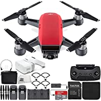 DJI Spark Portable Mini Drone Quadcopter Fly More Combo Virtual Reality VR FPV POV Experience Ultimate Bundle (Lava Red)