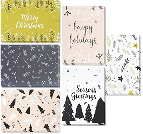 - 48 Pack of Christmas Xmas Winter Holiday Family Greeting Cards - Assorted Modern Festive Designs - Black, White, Pink - Boxed with 48 Count White Envelopes Included - 4 x 6 Inches