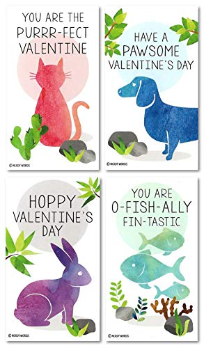 Mini Cat Dog Rabbit Fish Valentines (Set of 24 Wallet-Sized Cards) for Valentine's Day by Nerdy Words