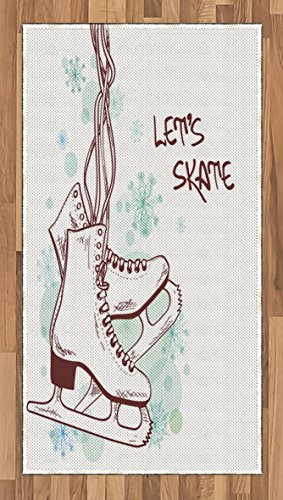 Christmas Ice Skating - Lunarable Winter Area Rug, Retro Skates with Snowflakes Background Ice Skating Christmas Digital Print, Flat Woven Accent Rug for Living Room Bedroom Dining Room, 4 x 6 FT, Sea Green Brown