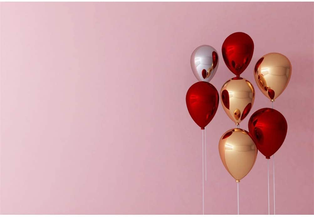 Polyester 8x6.5ft Romantic Valentines Day Background Beautiful Floating Red Golden Mirror Face Hydrogen Ballons Pink Wall Backdrops Child Girls Lovers Couple Portraits Shoot Birthday Festival