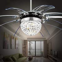 RS Lighting Modern Fashion 42-Inch Blades Ceiling Fan With Led Lights Transparent 8-Leaf Folding Chrome Fan Crystal Chandelier for Living Room Bedroom Ceiling Lamp Fixture