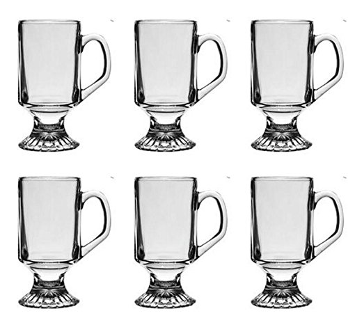 Glass Irish Footed Clear Coffee Mugs 9.75 oz. Set of 6 - Pedestal Irish Coffee Mugs