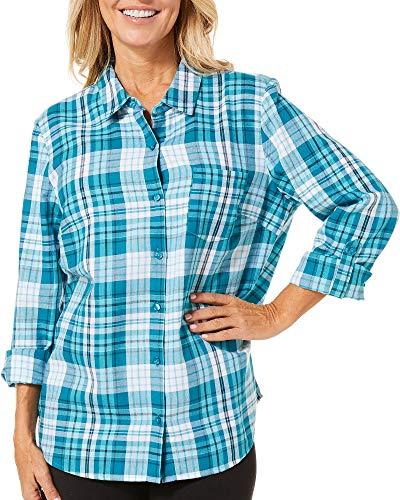 (Erika Women's Esme Roll Sleeve Button Front Shirt, deep Teal/Autumnal Plaid Medium)