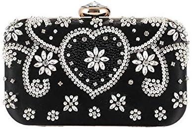 ディナーバッグ女性のヨーロッパおよびアメリカのファッション宴会バッグ、クラッチバッグパールイブニングバッグ、片方の肩掛け、3色、21 * 14 * 5 Cm 美しいファッション (Color : Black)