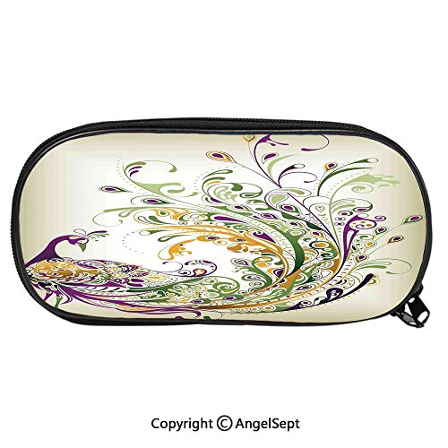 - 2288D Printing Pattern Pencil CasePeacock Bird Tail Feather Plume Paisley Pattern Ornamental Decorating Decorative for Children Teenager Pen Box Pencil Pouch Desk for Boys and Girls