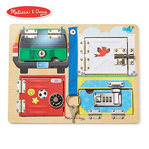 Melissa & Doug Locks & Latches Board Wooden Educational Toy (Sturdy Wooden Construction, Helps Develop Fine-Motor Skills)]()