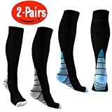 (2 Pairs) Joruby Compression Socks for Men & Women BEST Recovery Performance Stockings for Running, Medical, Athletic, Edema, Diabetic, Varicose Veins, Travel, Pregnancy, Shin Splints, Nursing