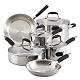 Anolon Tri-Ply Onyx Stainless Steel Cookware Set, 10-Piece