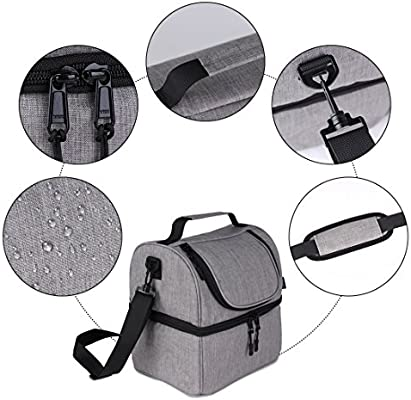 F40C4TMP Lunch Box Insulated Double Deck Lunch Bag for Men Women 12 Cans Leakproof Dual Compartment