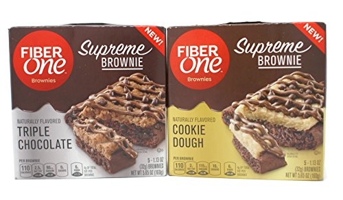 Breakfast Supreme (General Variety Pack - Fiber One Supreme Brownies (5.65 oz) - Triple Chocolate, Cookie Dough)