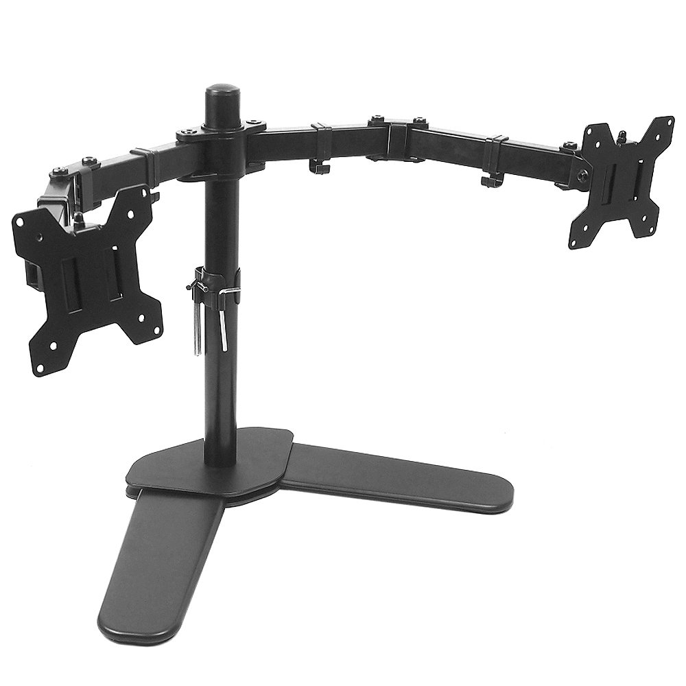 Dual Monitor Mount Dual LCD Monitor Desk Stand Fits Two Screens up to23,24, 27'', Full Motion, Tilt, Swivel, Rotation, 18 lbs Capacity