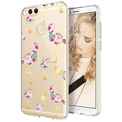 Mate Girl - Huawei Mate SE Case, Huawei Honor 7X Case, POKABOO Huawei Mate SE/Honor 7X Phone Case with Flamingo Pineapple Floral for Girls and Women, Soft TPU Transparent Shock Resistance and Anti-Scratch Cover