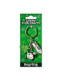 Irish Sheep Style Charm Keychain With Ireland Road Sign