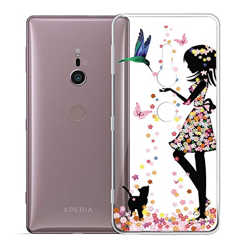 Funda para Sony Xperia XZ2 , IJIA Transparente Arco Iris Unicornio TPU Silicona Suave Cover Tapa Caso Parachoques Carcasa Cubierta para Sony Xperia XZ2 (5.7) WM49
