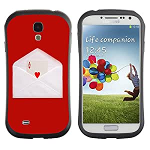 All-Round híbrido de goma duro caso cubierta protectora Accesorio Generación-I BY RAYDREAMMM - Samsung Galaxy S4 I9500 - Love Ace Heart Card Game Letter Envelope Red
