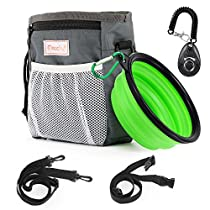 Magicfly Dog Traning Bag Pouch with Collapsible Travel Pet Bowel & Dog Clicker, Adjustable Belt With Dog Treat Pouch Built-In Poop Bag Dispenser 3 Ways To Wear – Grey