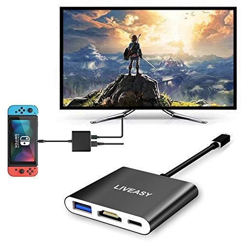 (LIVEASY HDMI Type C Hub Adapter for Nintendo Switch, 3-in-1 USB + Type-C + HDMI Converter Cable for Nintendo Switch, Compatible with Samsung S8, Portable Black Aluminum Housing)
