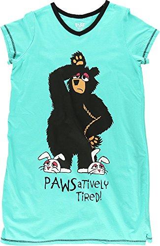 Tired Sleepshirt (Womens Fitted Animal Night Shirts (Small/Medium, Pawsativley Tired V-Neck Nightshirt))