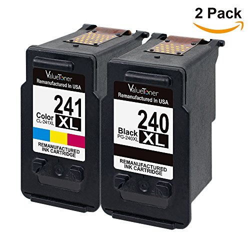 Valuetoner Remanufactured Ink Cartridge Replacement PG-240XL CL-241XL High Yield 5206B005 5206B001 5208B001 (1 Black, 1 Color) 2 Pack for Canon Pixma MG3620 MX432 MX532 MG3520 MX452 MX512 Printer