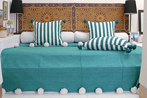 Moroccan Pom Pom Blanket Throw Bedspread, Hand Woven with 100% Quality COTTON, All-Year-Round Bedding, Turquoise with Pearl White Pom Poms. (BC16T)