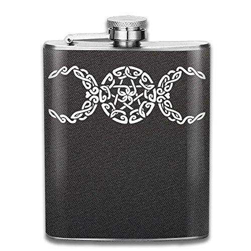 Portable 304 Stainless Steel Hip Flask, Triple Moon Pentacle 7 Oz Pocket Flagon Hunting Wine ()