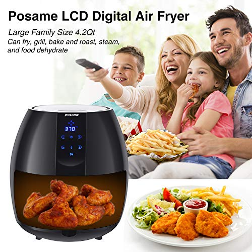 Air Fryer, POSAME LCD Digital Programmable Airfryer for Healthier Crisp Foods, Easily Detachable Frying Pot, Anti-scratch and Easy Clean Design, Auto Off and Memory Function, Family Size 4.2Qt by POSAME (Image #1)