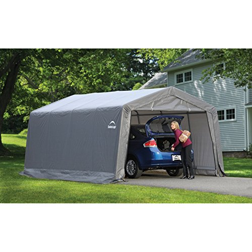 12 x 16 ft.Compact Garage in a Box Shelter w/ Lock Stabilizers,ShelterLogic - Grey by ShelterLogic