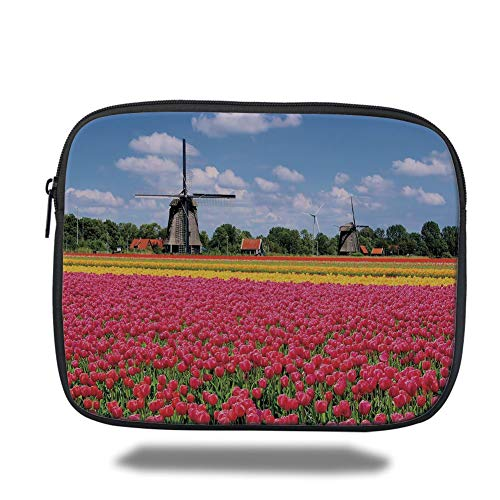 (Tablet Bag for Ipad air 2/3/4/mini 9.7 inch,Windmill Decor,Colorful Pink Tulips Fresh Springtime Field European Historic Traditional Decorative,Multicolor)