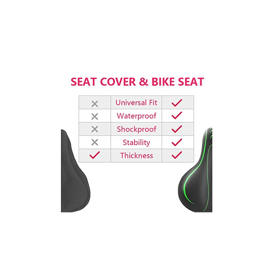 BLUEWIND Bike Seat, Most Comfortable Bicycle Seat Memory Foam Waterproof Bicycle Saddle Dual Shock Absorbing Best Stock Bicycle Seat Replacement for Mountain Bikes, Road Bikes