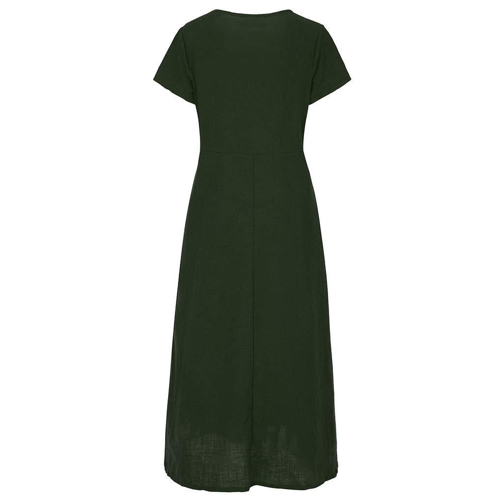 lotus.flower Women Summer Short Sleeve Pockets Round Neck Linen Casual Loose Dresses Ladies Casual Dress