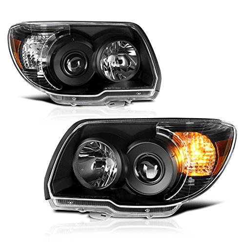 VIPMOTOZ Black Housing OE-Style Headlight Headlamp Assembly For 2006-2009 Toyota 4Runner, Driver & Passenger -