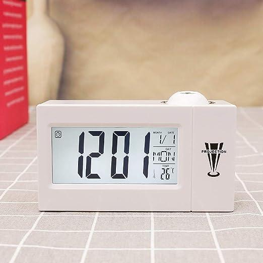Ganquer Reloj Despertador LED Retroiluminacion Proyección ...