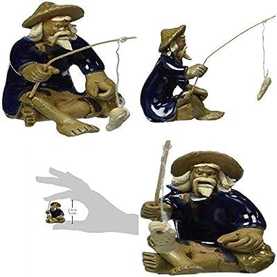 AchmadAnam - Live Plant Bonsai Ceramic Figurine Mudman Fisherman 1 25x1 25x1 75 Decor Grden Home Gift: Garden & Outdoor