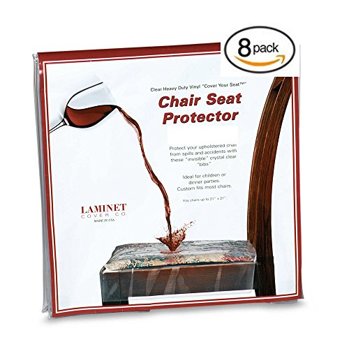 Clear Vinyl Chair Protectors Fits Chairs up to 21 Inches by 21 Inches – Set of 8 (Clear)
