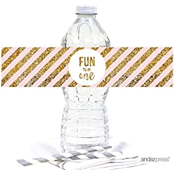 Andaz Press Blush Pink Gold Glitter Girl's 1st Birthday Party Collection, Water Bottle Label Stickers, 20-Pack