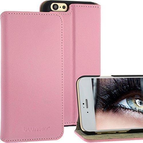 Thin Bookstyle Ledertasche für Apple iPhone 6 Pink mit Standfunktion von Blumax Echt Leder