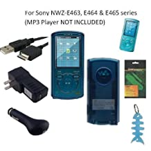 6 Items Accessories Bundle Kit for Sony Walkman NWZ-E463, NWZ-E464 and NWZ-E465 MP3 Player: Includes (Blue) Soft Gel Thermoplastic Polyurethane TPU Skin Case Cover, LCD Screen Protector, USB Wall Charger, USB Car Charger, 2in1 USB Cable and Light Blue Fishbone Style Keychain
