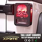 "Xprite Aluminum 2007 - 2017 Jeep Wrangler JK Unlimited Black Light Guard "" Top Fire Skull "" For Rear Taillights Tail Light Cover - Pair"